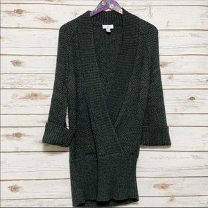 Ann Taylor Loft gray Alpaca Wool V Neck Sweater